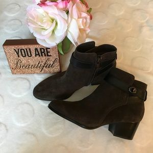 Chocolate brown Coach Patricia ankle bottie